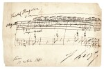"""F. Liszt. Autograph musical quotation from """"Magyar dallok"""" no.7, S.242/7, signed, 12 October 1842"""