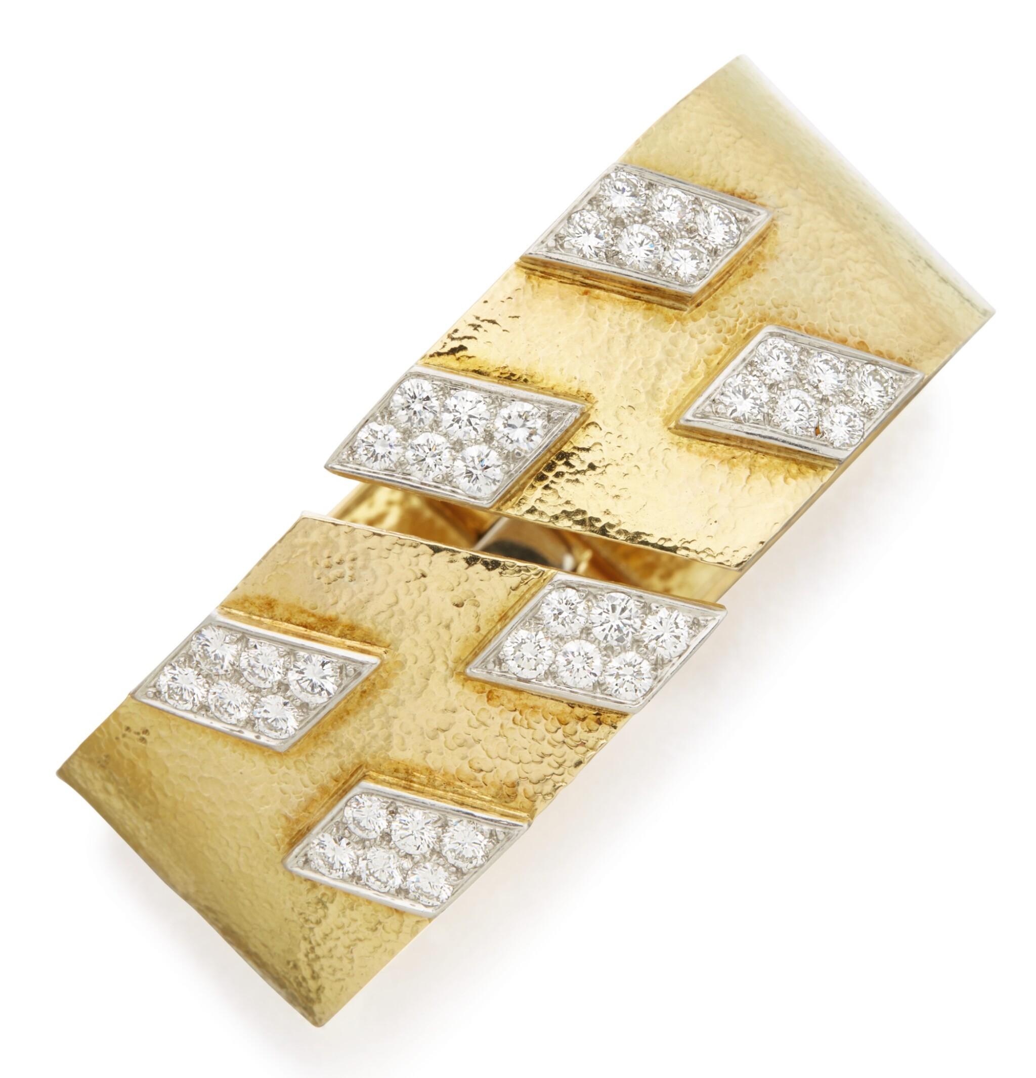 View full screen - View 1 of Lot 303. GOLD AND DIAMOND BANGLE-BRACELET, DAVID WEBB .