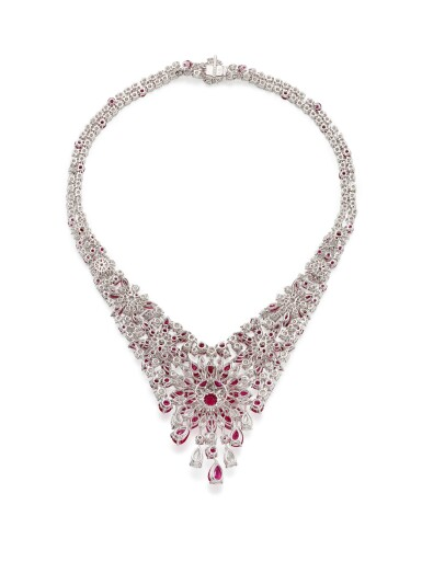 GRAFF | RUBY AND DIAMOND NECKLACE | 格拉夫 | 紅寶石 配 鑽石 項鏈﹙ 紅寶石及鑽石共重約60.30及50.57卡拉﹚