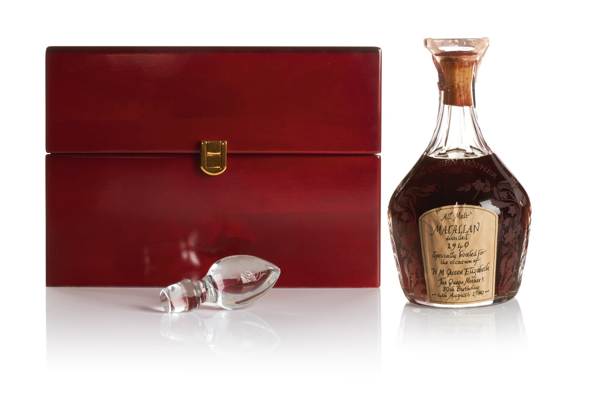 View full screen - View 1 of Lot 175. THE MACALLAN THE QUEEN MOTHER'S 80TH BIRTHDAY 40.0 ABV 1940 .