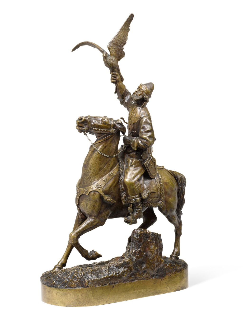 TSAR'S FALCONER: A SMALL BRONZE FIGURE, CAST BY WOERFFEL AFTER THE MODEL BY EVGENY NAPS
