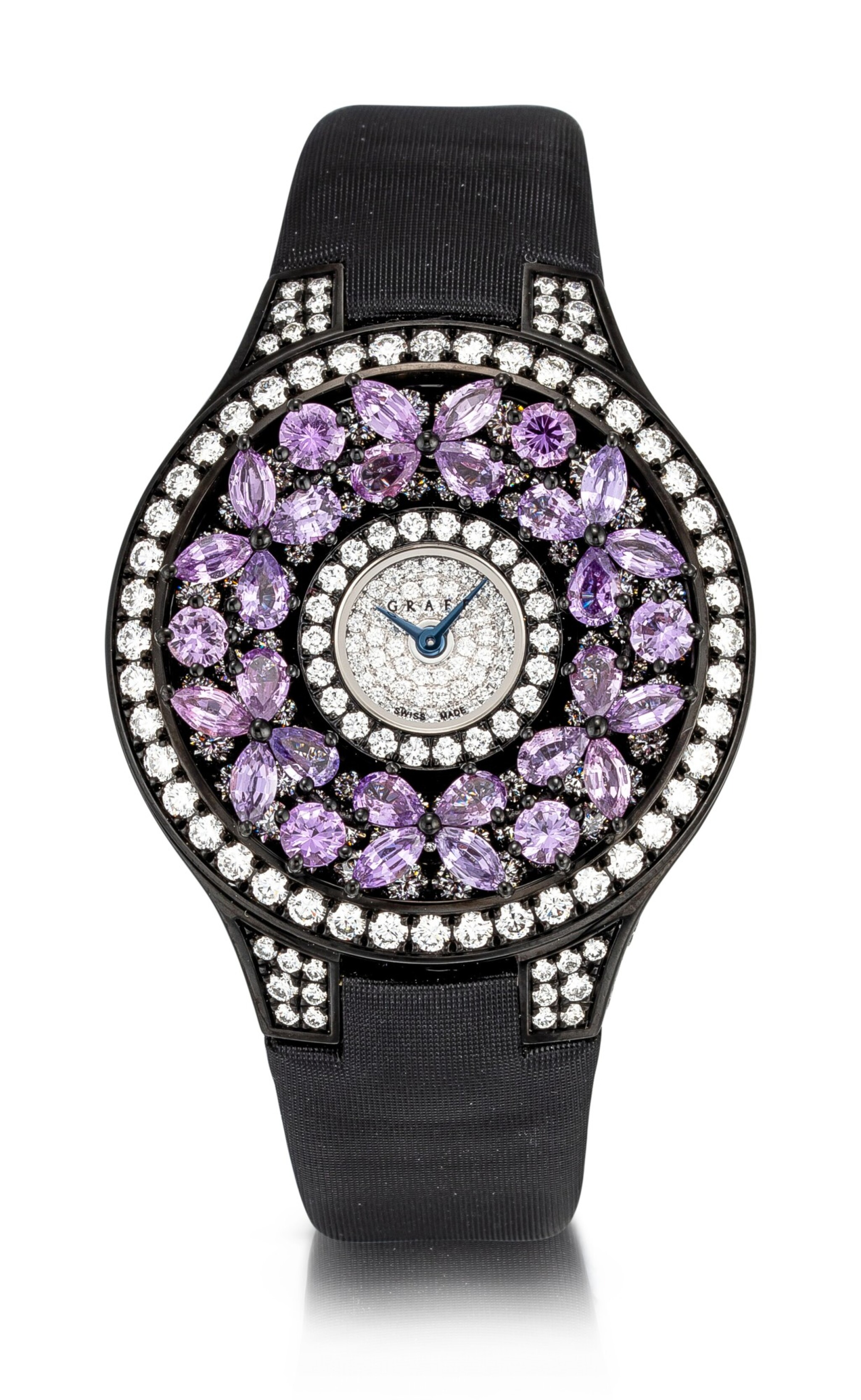 View 1 of Lot 1045. 'Butterfly' Reference BF32BGVSD, 5 Limited Edition Blackened Gold, Purple Sapphire and Diamond-Set Wristwatch | 格拉夫| Butterfly編號BF32BGVSD 5,限量版鍍黑金,紫色剛玉及鑽石腕表,約2010年製.
