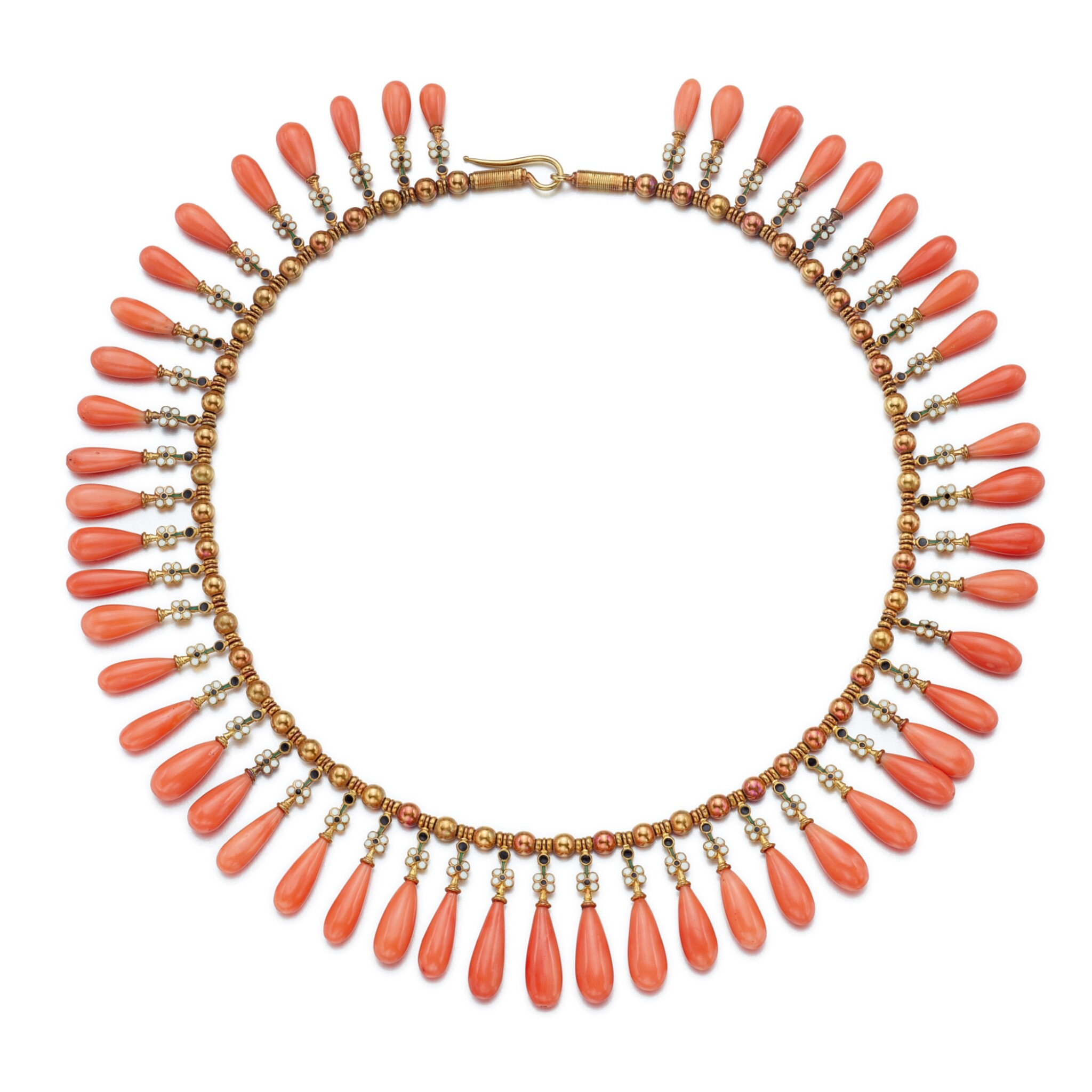View full screen - View 1 of Lot 1687. MIKIMOTO | CORAL AND ENAMEL FRINGE NECKLACE   御木本 | 珊瑚 配 琺瑯彩 項鏈   .