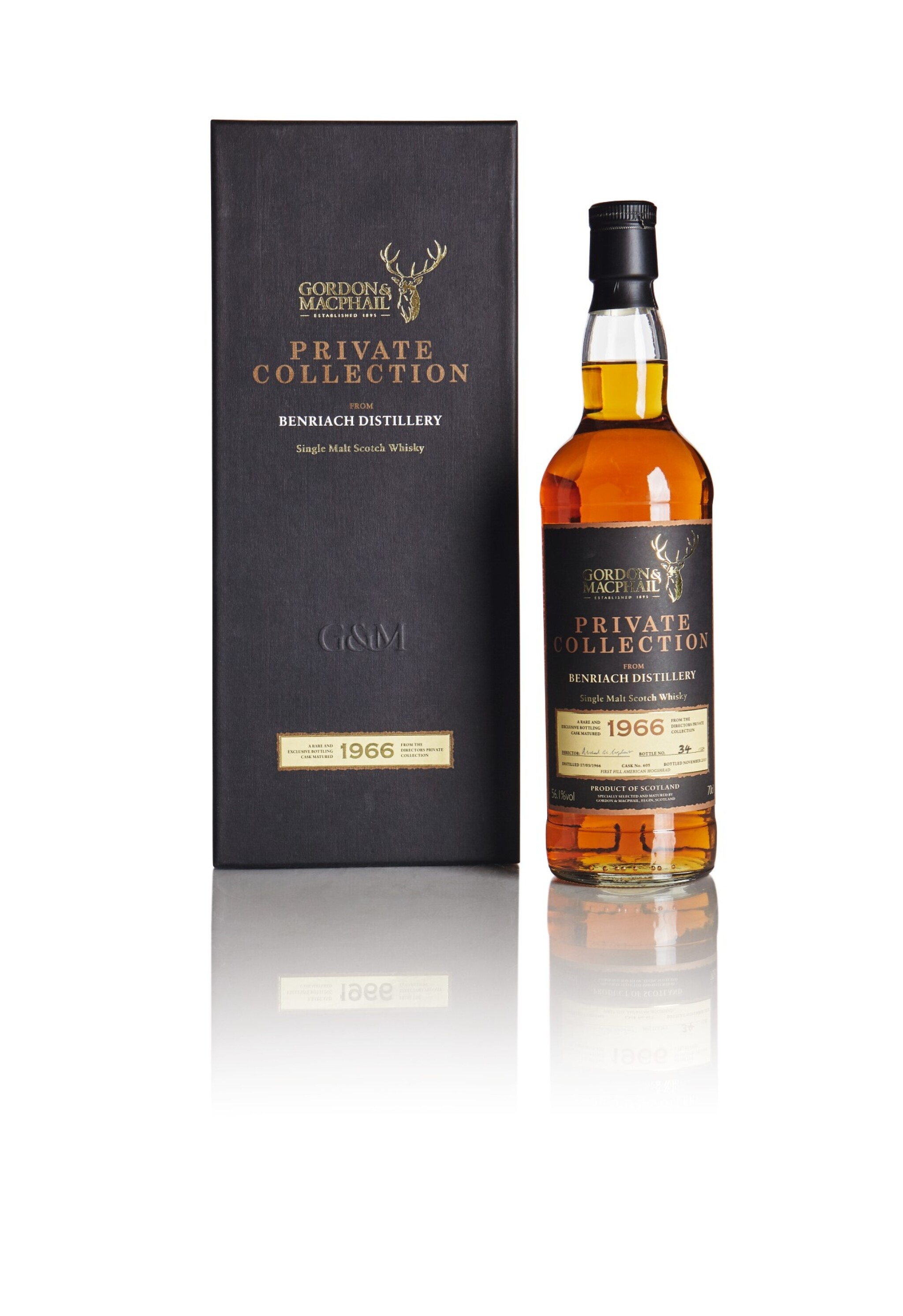 View full screen - View 1 of Lot 208. BENRIACH GORDON & MACPHAIL PRIVATE COLLECTION 44 YEAR OLD 56.1 ABV 1966 .