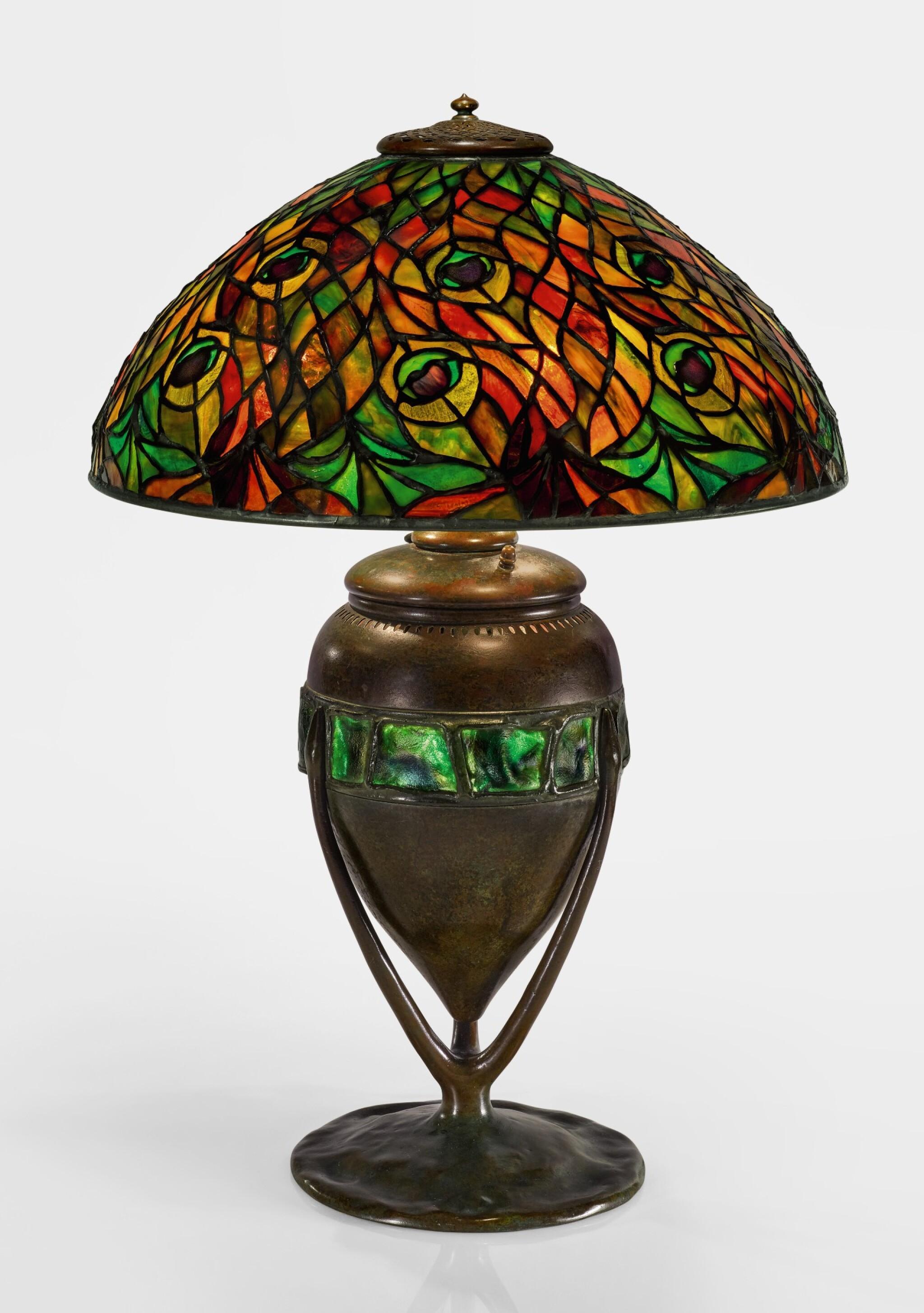 "View full screen - View 1 of Lot 424. TIFFANY STUDIOS | ""PEACOCK"" TABLE LAMP."