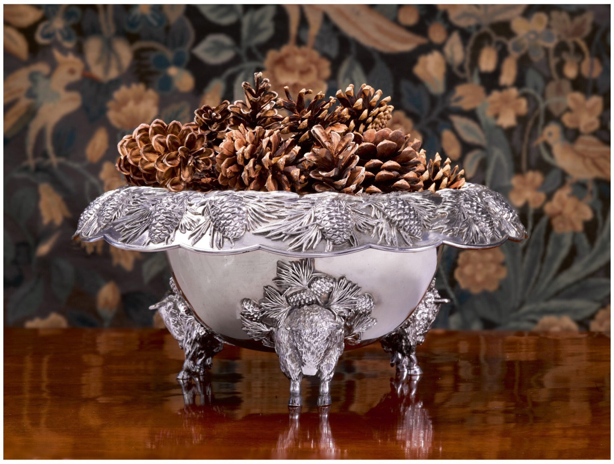 AN AMERICAN SILVER PUNCH BOWL, GORHAM MFG. CO., PROVIDENCE, RI, EARLY 20TH CENTURY
