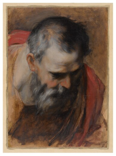 View 2. Thumbnail of Lot 115. Saint Joseph, a head study for the Visitation Altarpiece        .