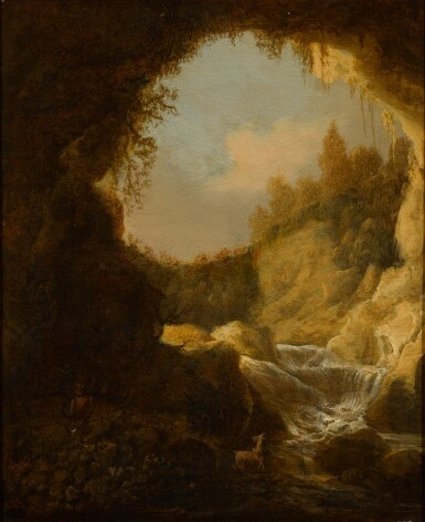 View 1. Thumbnail of Lot 34. ATTRIBUTED TO KATHERINA VAN KNIBBERGEN | A grotto with a mountain stream.