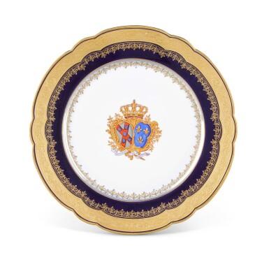 View 2. Thumbnail of Lot 96.  A FRENCH PORCELAIN ROYAL DATED ARMORIAL PART DESSERT SERVICE, 1886, PILLIVUYT ET CIE., PARIS.