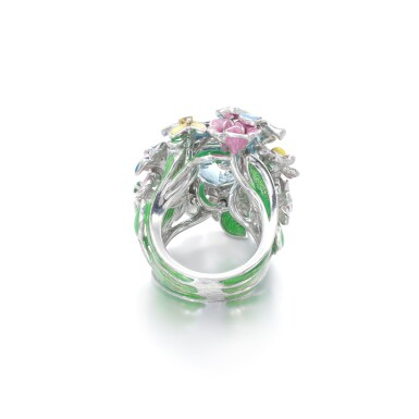 View 3. Thumbnail of Lot 21. Gem set and diamond ring, 'Diorette'.