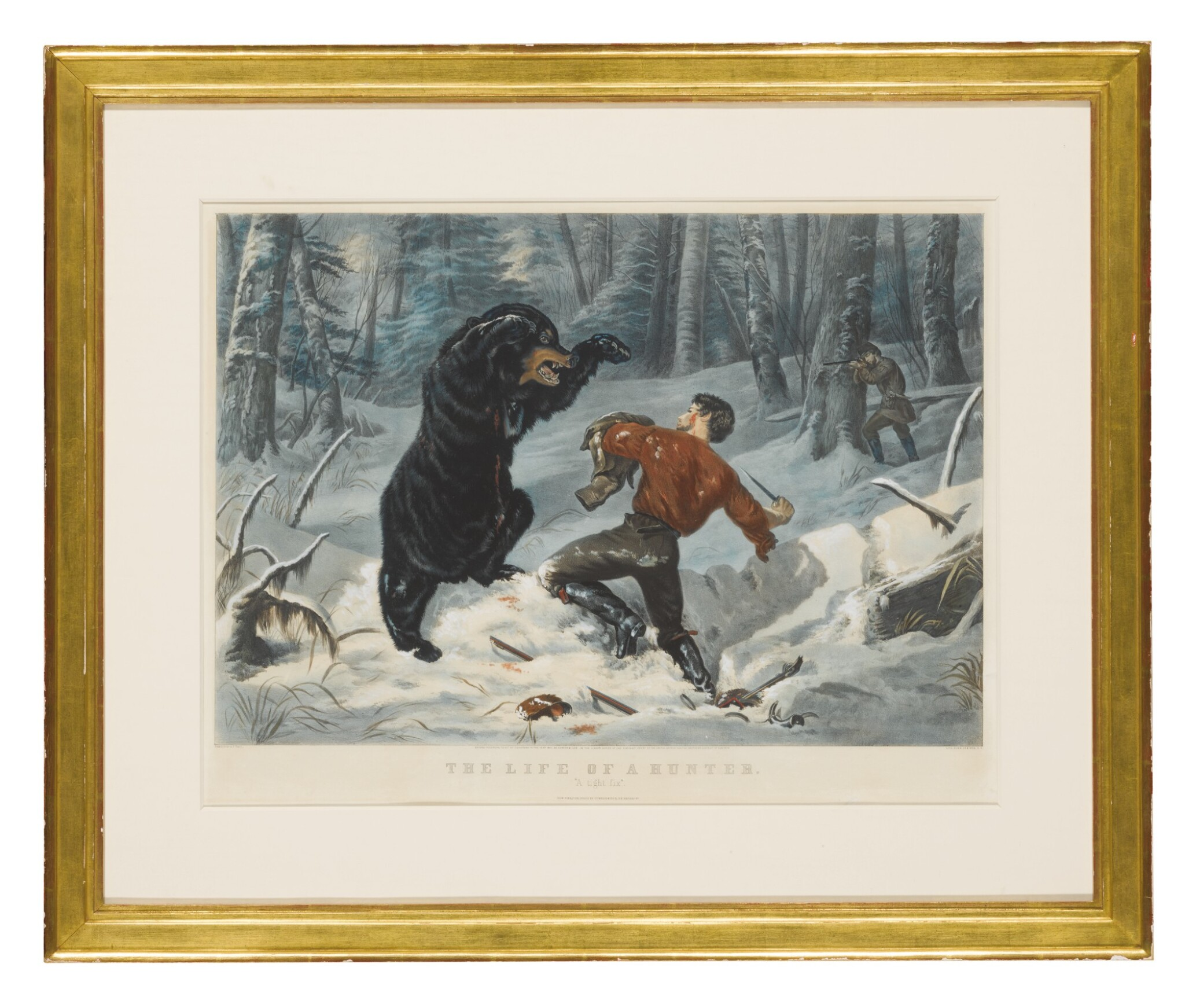 """View full screen - View 1 of Lot 1762. CURRIER & IVES (PUBLISHERS)   THE LIFE OF A HUNTER: """"A TIGHT FIX"""" (GALE 3790)."""
