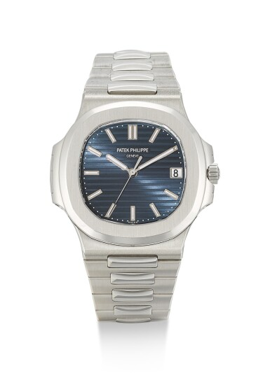 PATEK PHILIPPE | NAUTILUS, REFERENCE 5711, A BRAND NEW PLATINUM WRISTWATCH WITH DATE, BLUE JEANS DIAL AND BRACELET, CIRCA 2014