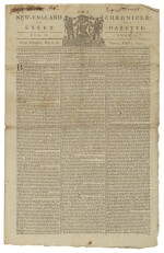 (AMERICAN REVOLUTION) | British Accounts of the Battles of Lexington and Concord printed in The New-England Chronicle: or, The Essex Gazette, Vol. VII, No. 354. Cambridge: Printed by Samuel and Ebenezer Hall, from Tuesday, May 2, to Friday, May 12, 1775