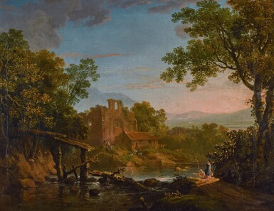 View 1. Thumbnail of Lot 197. A classical landscape with figures in the foreground, ruins and mountains beyond.