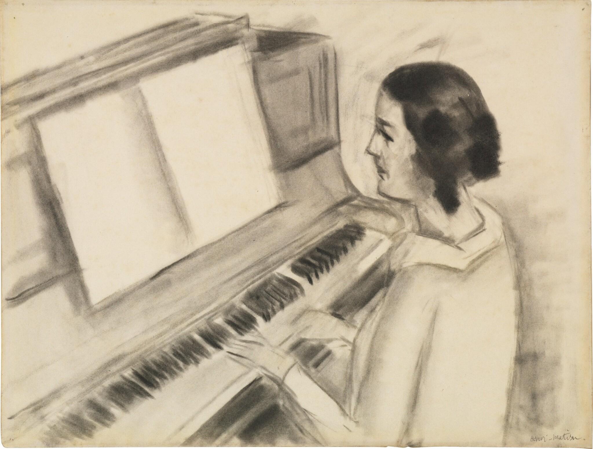 View full screen - View 1 of Lot 52. Portrait de Henriette jouant au piano.