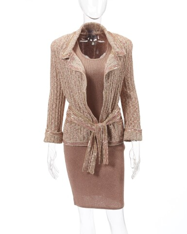 Shimmering sequin knit dress and jacket