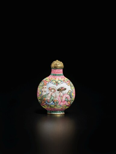 View 1. Thumbnail of Lot 64. A rare Beijing enamel 'European subject' snuff bottle, Mark and period of Qianlong | 清乾隆 銅胎北京畫琺瑯西洋人物圖鼻煙壺 《乾隆年製》款.