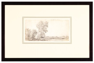 View 2. Thumbnail of Lot 98. Landscape with a Row of Trees and a Village in the Distance.