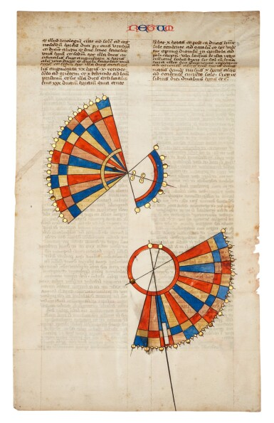 View 1. Thumbnail of Lot 30. The Sundial of Ahaz, two diagrams on a leaf from Nicholas of Lyra's Literal Commentary, [France, c.1360-80].