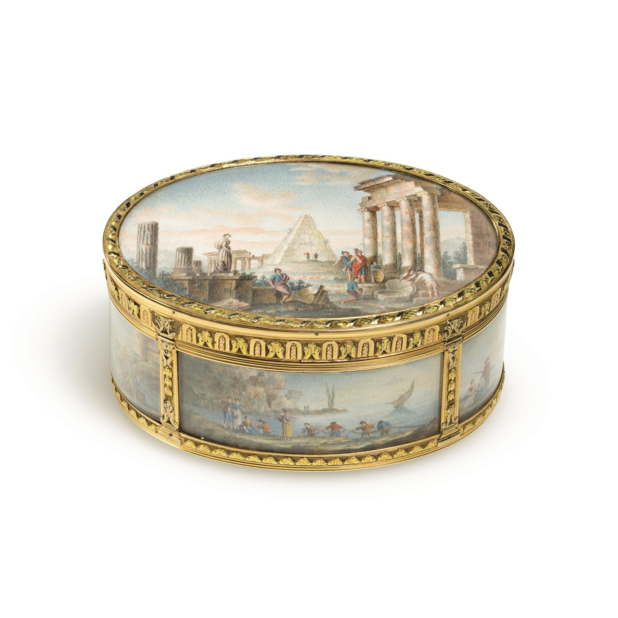 View full screen - View 1 of Lot 30. A boîte-à-miniatures with three-colour gold mounts.