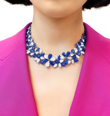 View 2. Thumbnail of Lot 46. GRAFF | SAPPHIRE AND DIAMOND NECKLACE 格拉夫 | 藍寶石配鑽石項鏈.