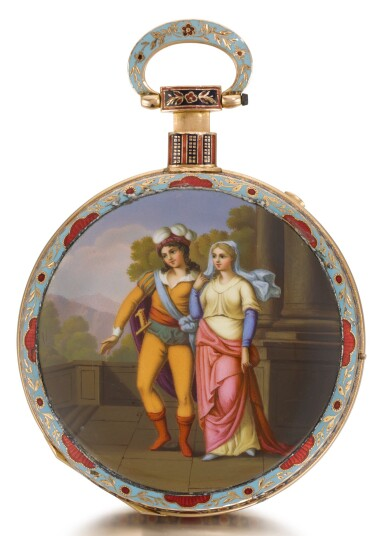 View 1. Thumbnail of Lot 232. BOVET   A LARGE GOLD AND ENAMEL QUARTER REPEATING MUSICAL OPEN-FACED WATCH MADE FOR THE CHINESE MARKET   CIRCA 1820 NO. 9819.