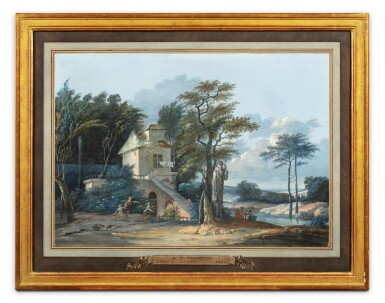 View 5. Thumbnail of Lot 196. Pastoral landscape with thermal baths;  Pastoral landscape with a child shooting an arrow.