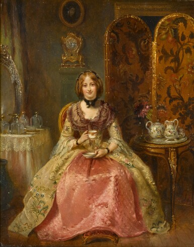 View 1. Thumbnail of Lot 103. Portrait of the Lady Dorothy Nevill in Her Boudoir.