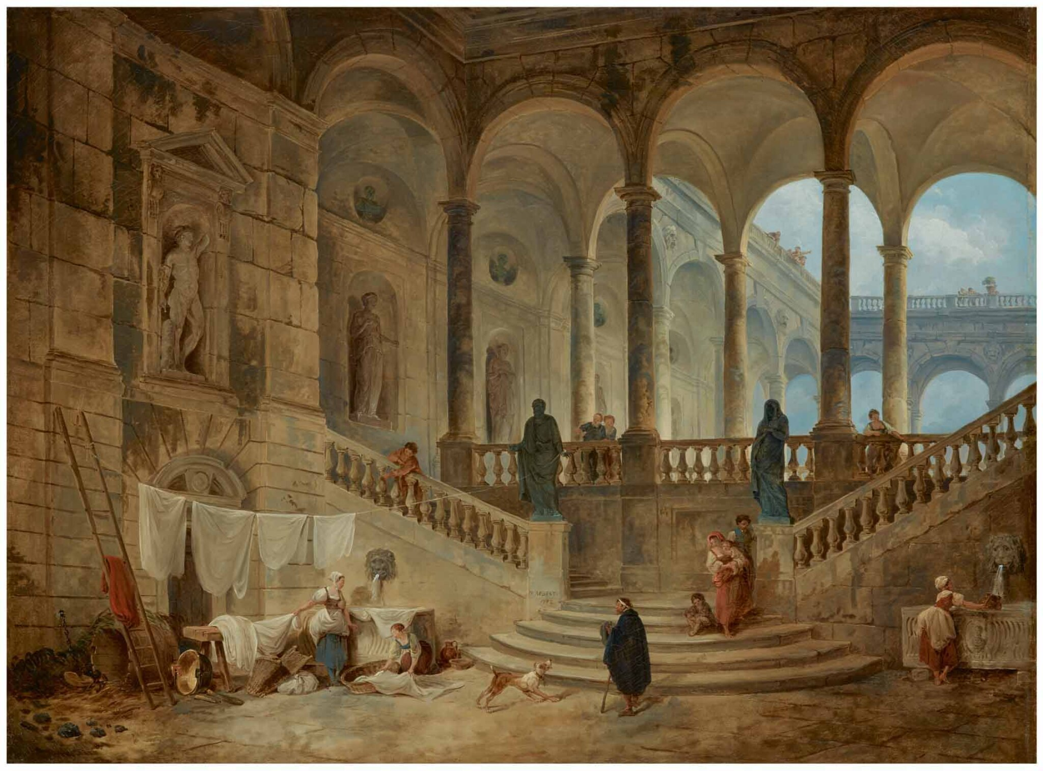 View full screen - View 1 of Lot 16. HUBERT ROBERT | VIEW OF THE PALAZZO DURAZZO, GENOA, WITH WASHERWOMEN AND OTHER FIGURES IN THE FOREGROUND.