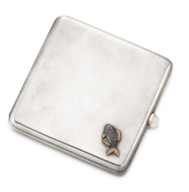 View 3. Thumbnail of Lot 64. A Fabergé jewelled silver cigarette case, workmaster Michael Perchin, St Petersburg, circa 1890.