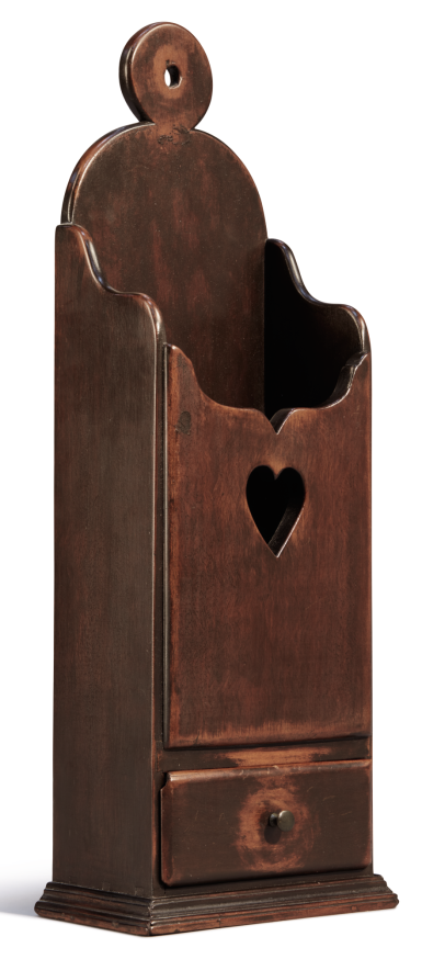View 1. Thumbnail of Lot 1050. FINE CHIPPENDALE CHERRYWOOD HEART-DECORATED HANGING PIPE BOX WITH DRAWER, CONNECTICUT, CIRCA 1780.