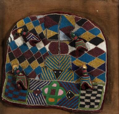 View 2. Thumbnail of Lot 226. Tissu de velours brodé de perles, Bamileke, Cameroun | Velvet piece of fabric embroidered with pearls, Bamileke, Cameroon.