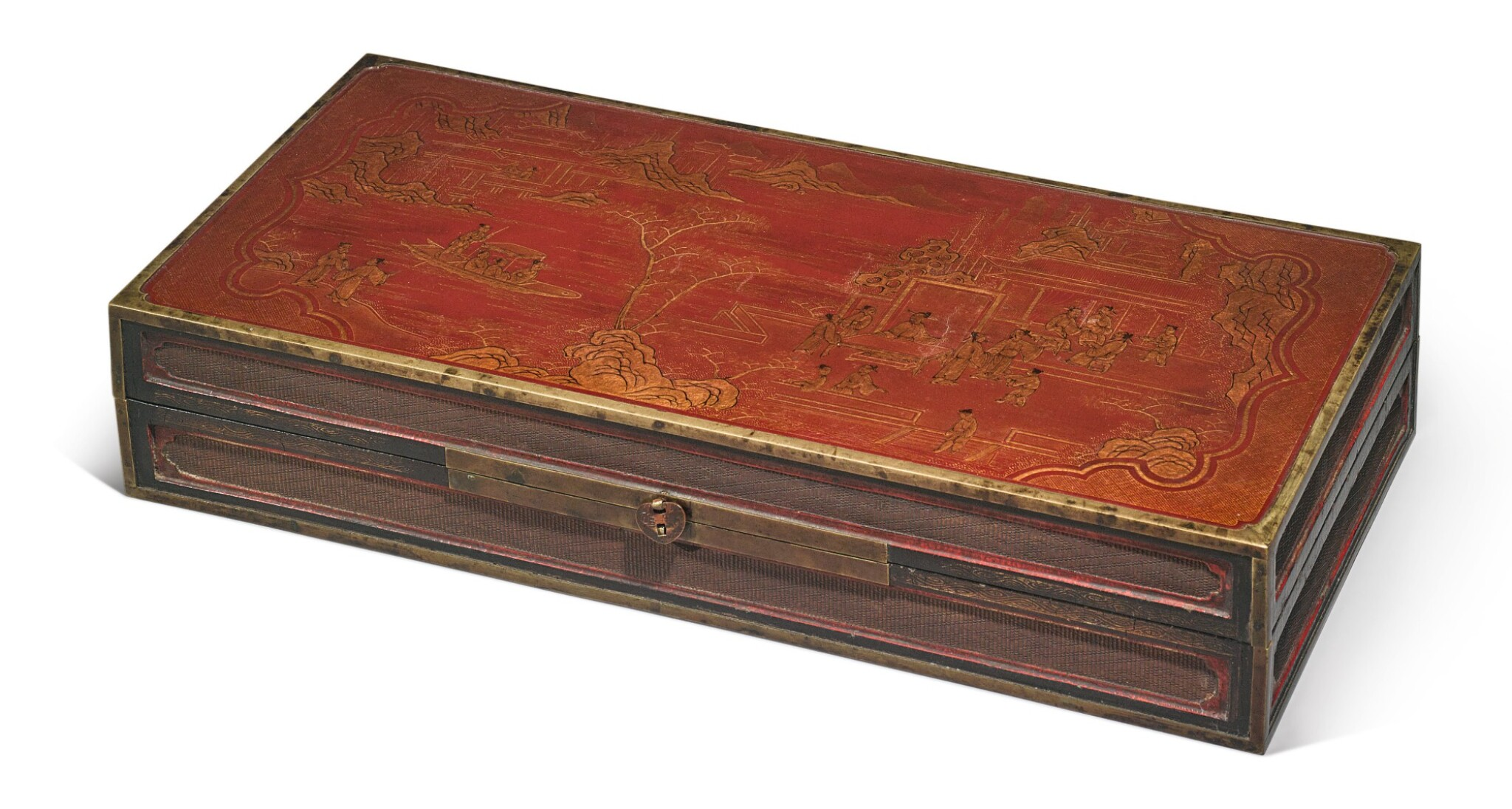 View 1 of Lot 1122.  A BROWN LACQUER AND GILT 'FIGURAL' RECTANGULAR BOX AND COVER,  LATE MING / QING DYNASTY.