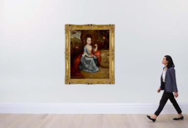 View 4. Thumbnail of Lot 635. Portrait of a young girl, believed to be Anne Conslade, wearing a blue dress with a brown mantle and holding an orange.