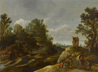 View 1. Thumbnail of Lot 151. A landscape with peasants resting by a watermill.