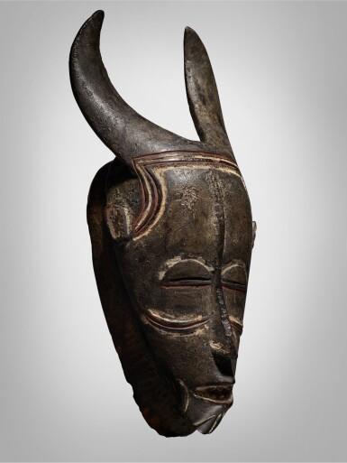 View 2. Thumbnail of Lot 44. Ligbi Horned Mask, Côte d'Ivoire.
