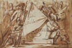ATTRIBUTED TO EMILE-JEAN-HORACE VERNET | Design for a frontispiece with soldiers holding a flag