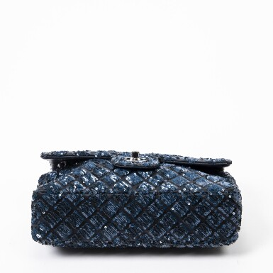 View 4. Thumbnail of Lot 41. Dark Blue and Black Classic Single Flap in Quilted Leather and Sequins with Ruthenium Hardware, 2012-2013.