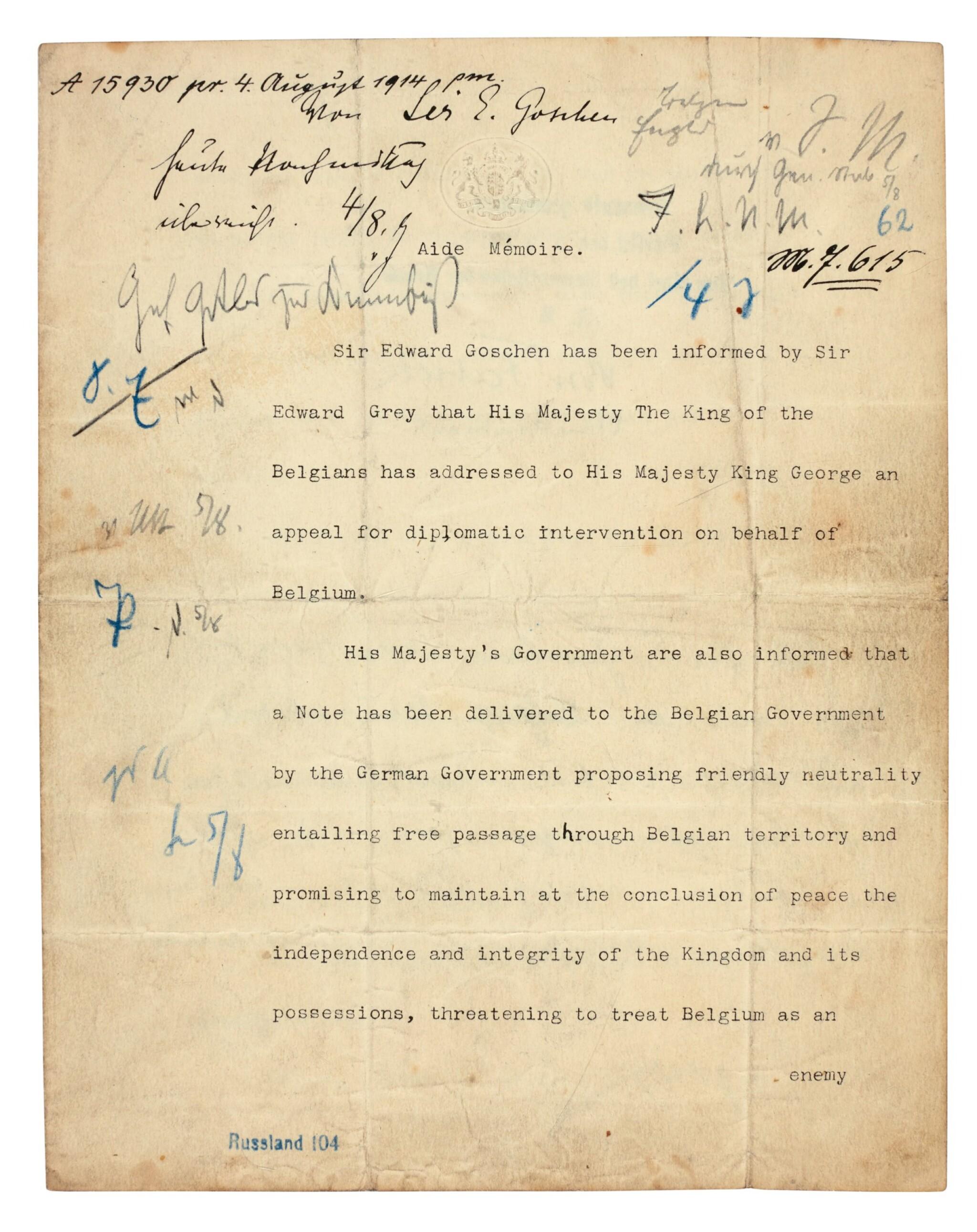 View full screen - View 1 of Lot 134.  WORLD WAR I--GOSCHEN | typescript document to Von Jagow, the German Foreign Minister, 4 August 1914.