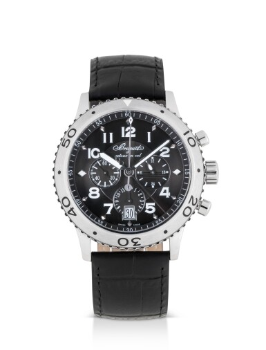 BREGUET | TYPE XXI, REF 3810 STAINLESS STEEL FLY-BACK CHRONOGRAPH WRISTWATCH WITH DATE AND 24-HOUR INDICATION CIRCA 2010