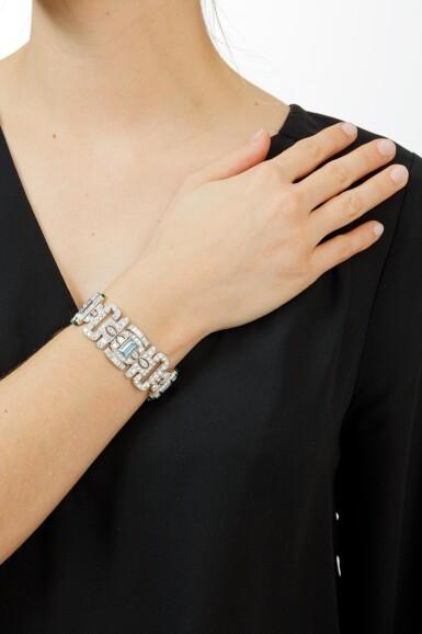 BRACELET AIGUES-MARINES, CALCEDOINE ET DIAMANTS   ACQUAMARINE, CHALCEDONY AND DIAMOND BRACELET