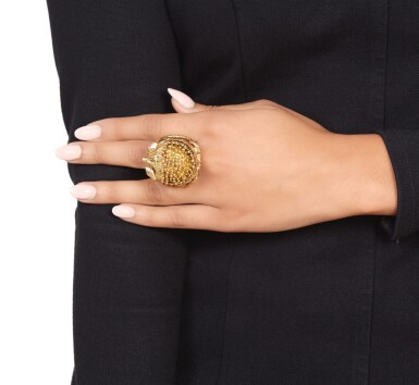View 3. Thumbnail of Lot 489. Gold and Gem-Set Ring.