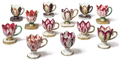 View 1. Thumbnail of Lot 137. A GROUP OF TWELVE ENGLISH PORCELAIN TULIP ICE-CUPS, CIRCA 1820-30.