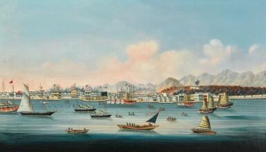 View 2. Thumbnail of Lot 203. A SET OF FOUR CHINA TRADE PAINTINGS QING DYNASTY, CA. 1880   清 約1880年 《香港》、《澳門》、《廣州》及《廈門》外銷油畫一組四幅.