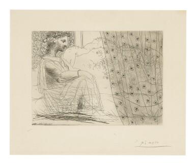 PABLO PICASSO | MARIE-THÉRÈSE, EN VESTALE, VEILLANT LE MINOTAURE ENDORMI (B. 193; BA. 352)