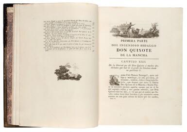 View 2. Thumbnail of Lot 88. Cervantes, Don Quixote, Madrid, Ibarra, 1780, 4 volumes, navy morocco gilt by Bozérian.