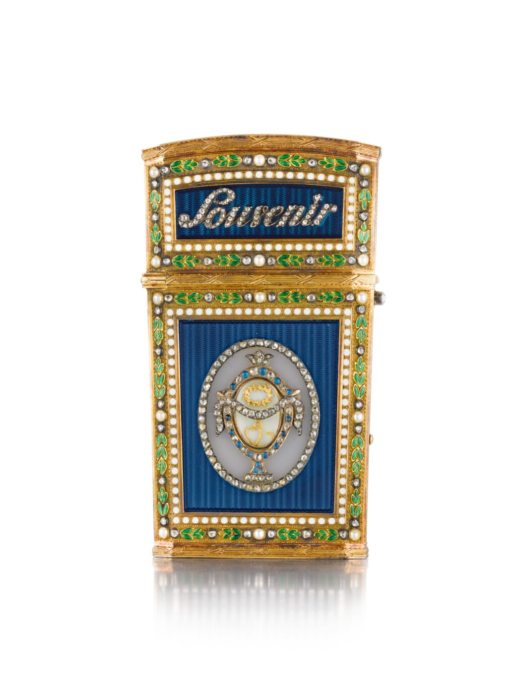 A JEWELLED GOLD AND ENAMEL SOUVENIR D'AMITIÉ, PROBABLY FRENCH, LATE 19TH CENTURY