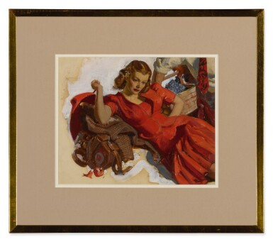 View 2. Thumbnail of Lot 56. Woman in a Red Dress.