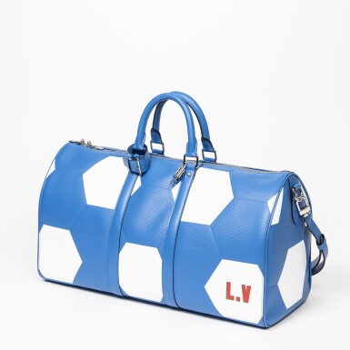View 3. Thumbnail of Lot 110. Blue and White World Cup 50 Keepall Bandouliere in Apollo Leather with Palladium Brass Hardware, 2018.