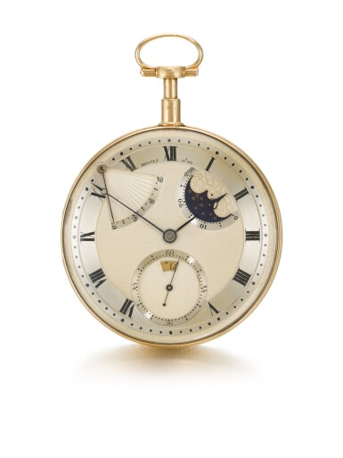 View 2. Thumbnail of Lot 28. BREGUET  [ 寶璣]    AN EXCEPTIONAL AND VERY RARE GOLD SELF-WINDING QUARTER REPEATING WATCH WITH MOON PHASES, DAY OF THE WEEK AND POWER RESERVE  NO. 60, 'PÉRPETUELLE' SOLD TO MONSIEUR JOHNSTON ON 5 JANUARY 1796 FOR 3,120 FRANCS  [ 極罕有黃金自動上鏈二問懷錶備月相、星期及動力儲存顯示,編號60,1796年1月5日以3,120法郎售出].